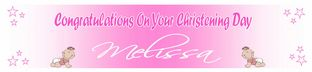 Personalised Girl Christening Banner Design 3